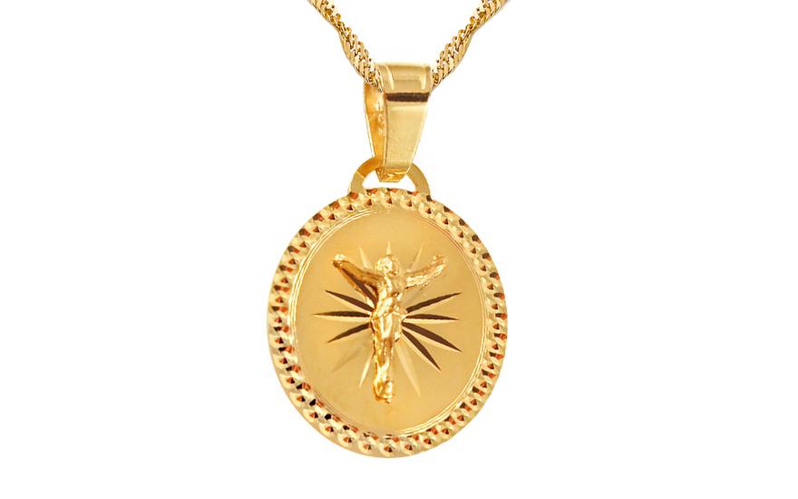 Zlatý přívěsek Ježíš na kříži s gravírováním IZ10039