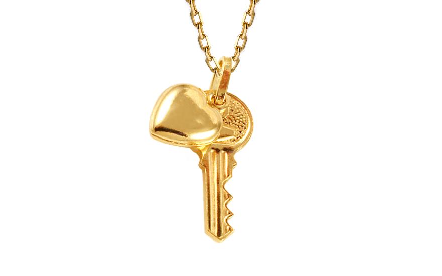 Zlatý přívěsek klíč k lásce IZ9932
