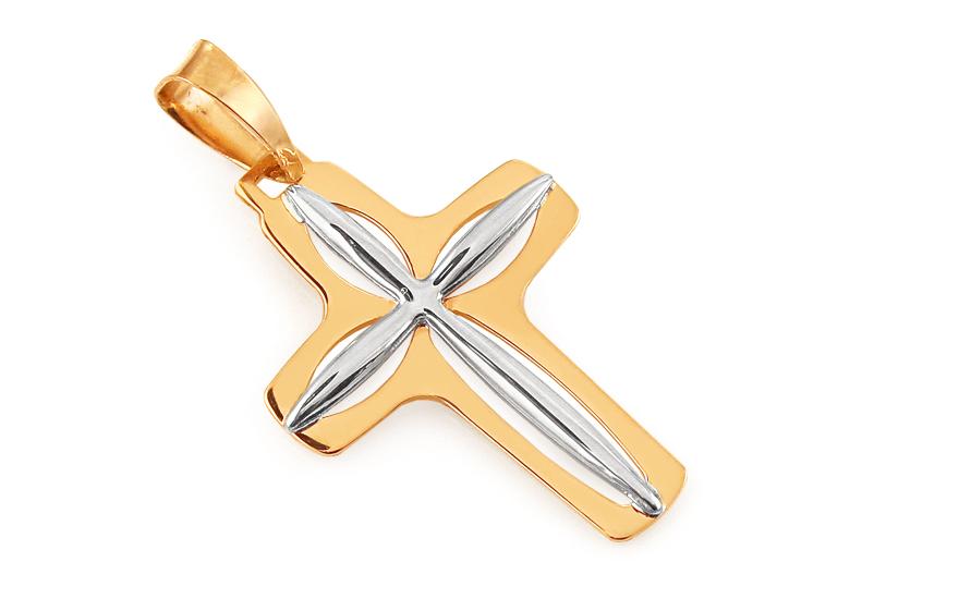 Zlatý přívěsek kříž kombinovaný IZ11883B