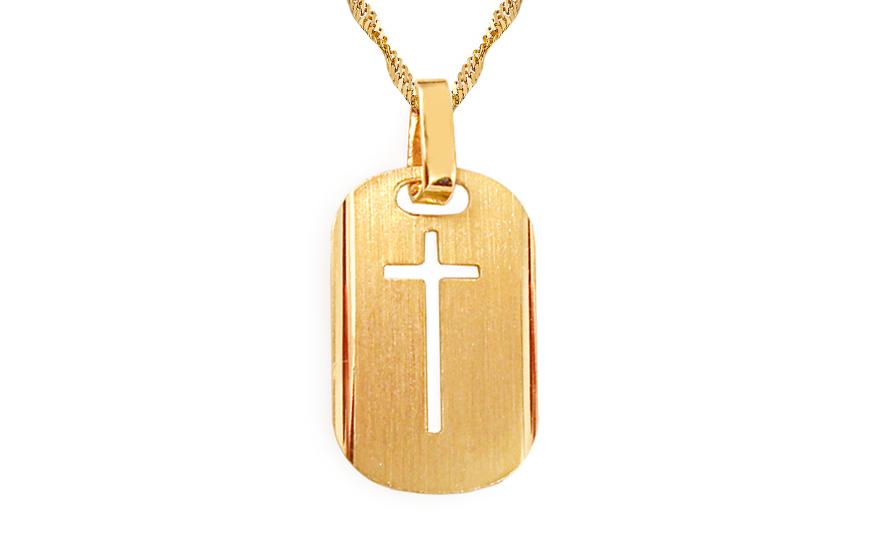 Zlatý přívěsek kříž na destičce IZ4591