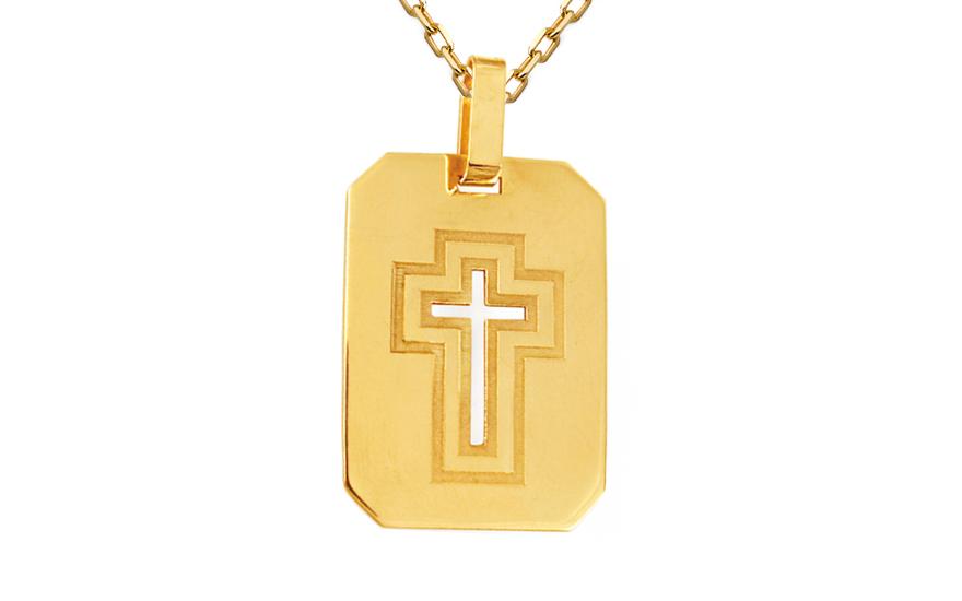 Zlatý přívěsek kříž na destičce IZ10127