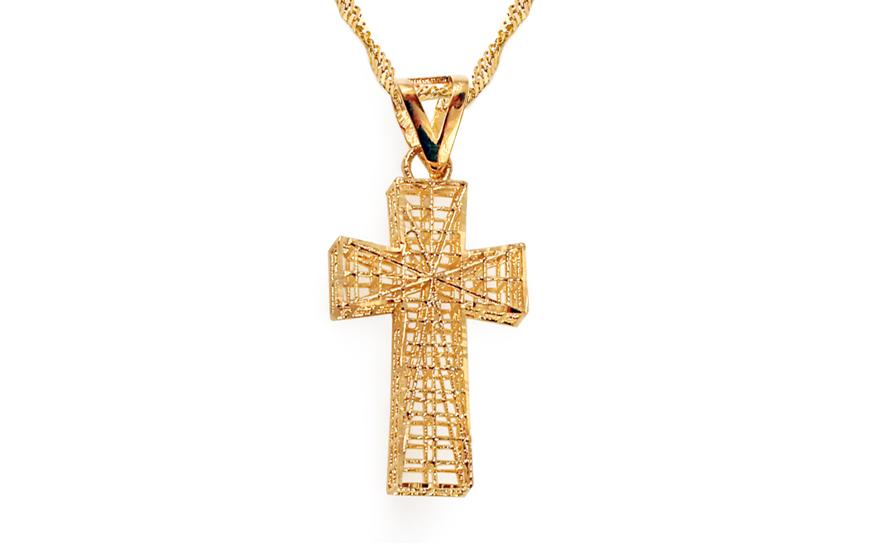 Zlatý přívěsek kříž vyplétaný IZ5855