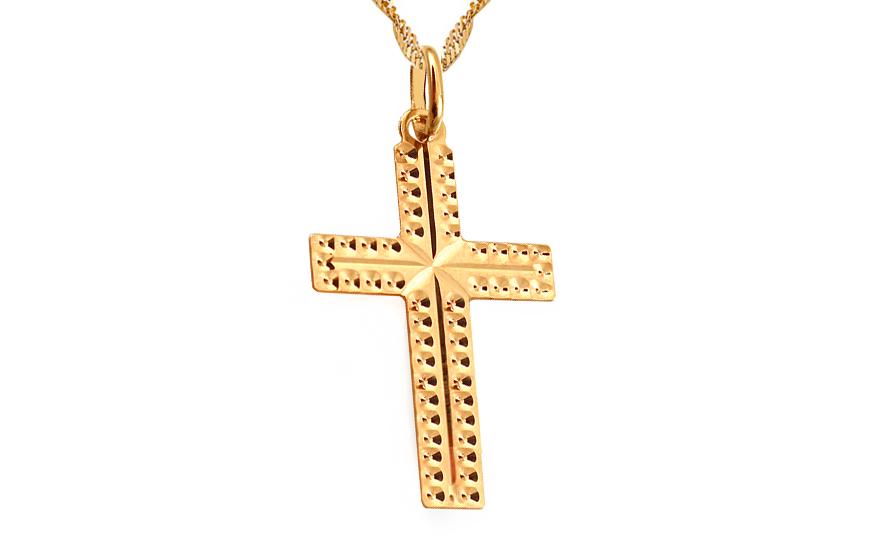 Zlatý přívěsek Křížek gravírovaný IZ5307