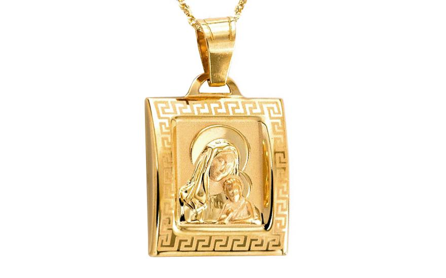Zlatý přívěsek Panna Marie s Ježíškem IZ7839