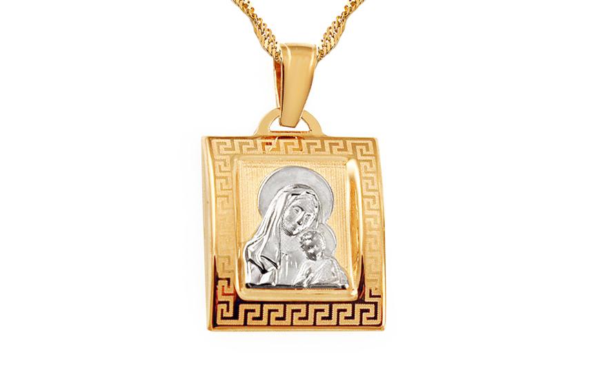 Zlatý přívěsek Panna Maria s dítětem IZ7839W