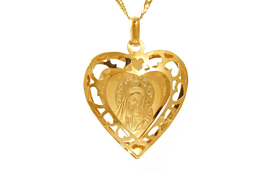 Zlatý přívěsek Panna Maria v srdci IZ9528