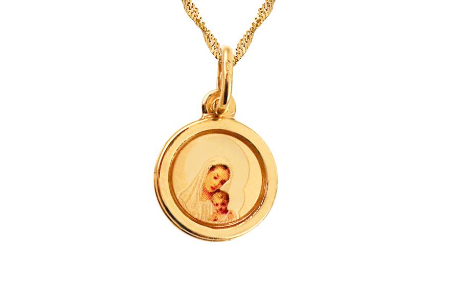 Zlatý přívěsek Panna Marie s děťátkem IZ8415