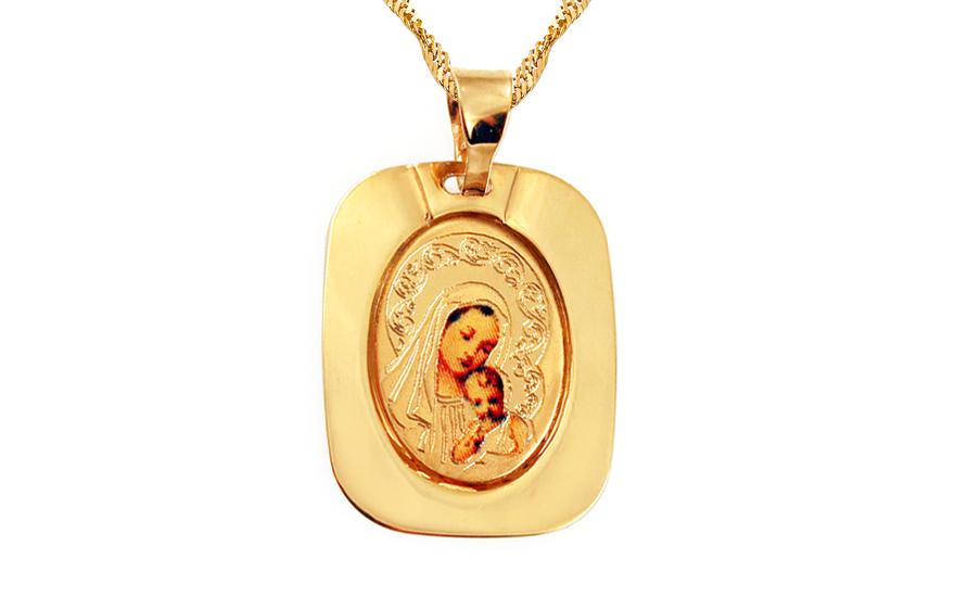 Zlatý přívěsek Panna Marie s Ježíškem IZ8421