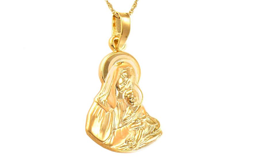 Zlatý přívěsek Panna Marie s Ježíškem IZ8500