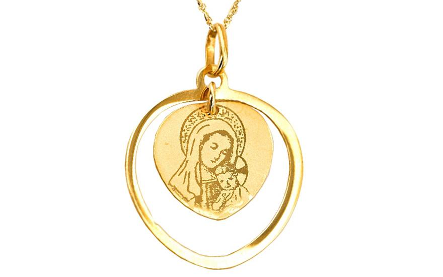 Zlatý přívěsek Panna Marie s Ježíškem v srdci IZ4794