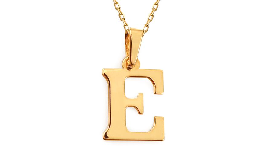 Zlatý přívěsek písmeno E IZ11557