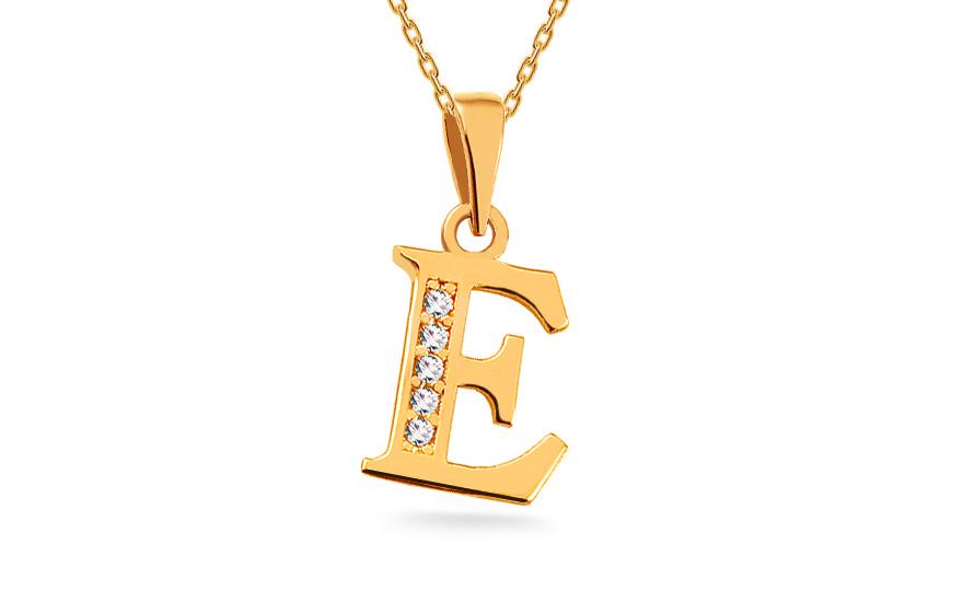 c76b772e4 Zlatý přívěsek písmeno E se zirkony, pro ženy (IZ16048) | iZlato24.cz