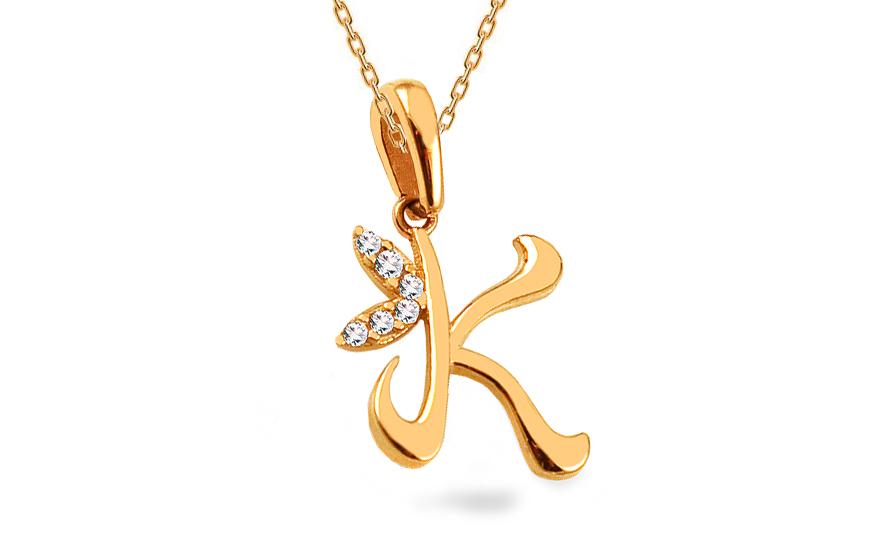 Zlatý přívěsek písmeno K se zirkony IZ14118