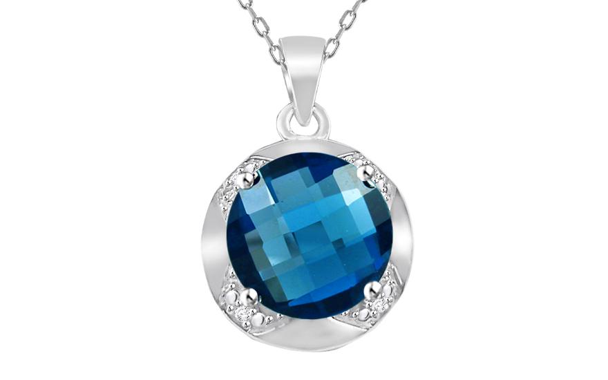 Zlatý přívěsek s diamanty a London Blue topasem Keera KU475P