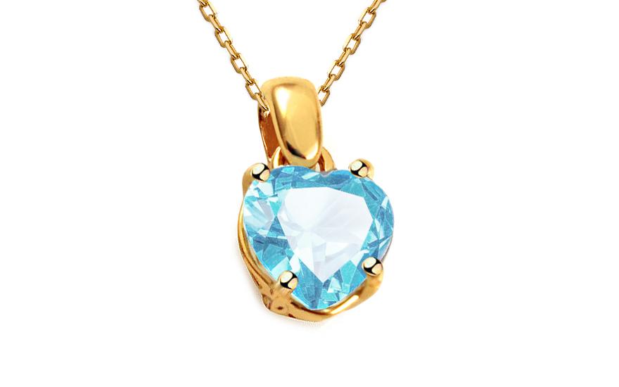 Zlatý přívěsek s modrým zirkonem srdíčko IZ11905