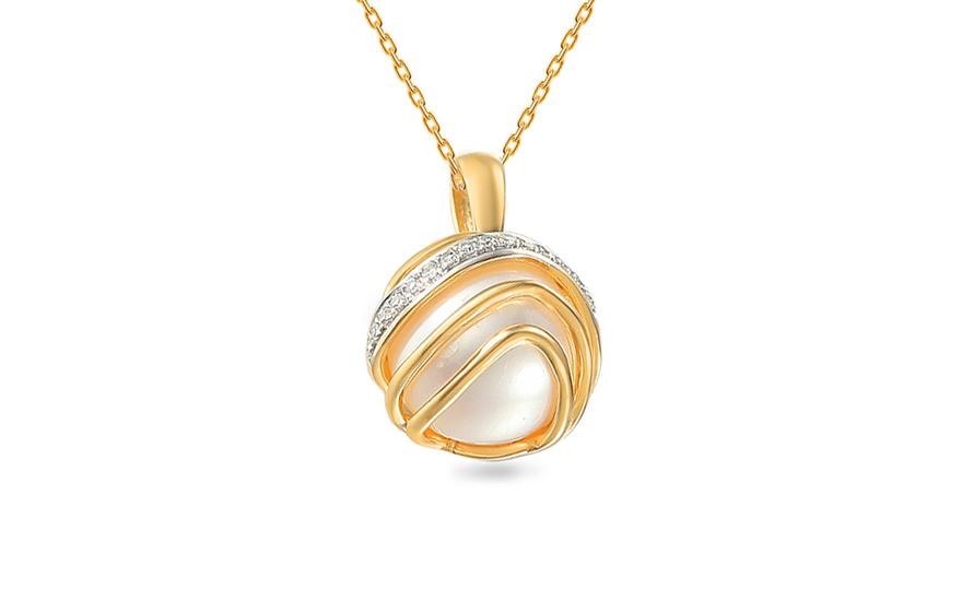 9461b224d Zlatý přívěsek s perlou a diamanty 0.030 ct Chloris, pro ženy ...