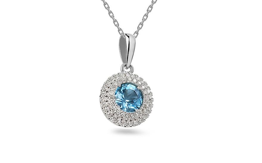 Zlatý přívěsek s topasem a diamanty Madeleine IZBR139TP