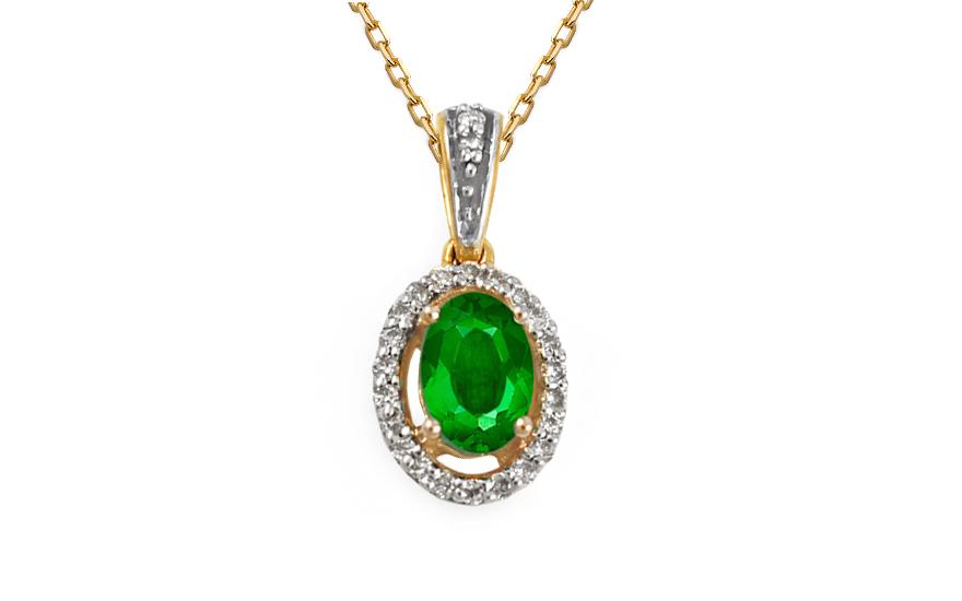 Zlatý přívěsek se smaragden a brilianty KU370P