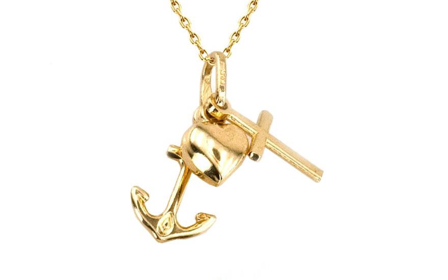 Zlatý přívěsek srdce kotva kříž IZ8456