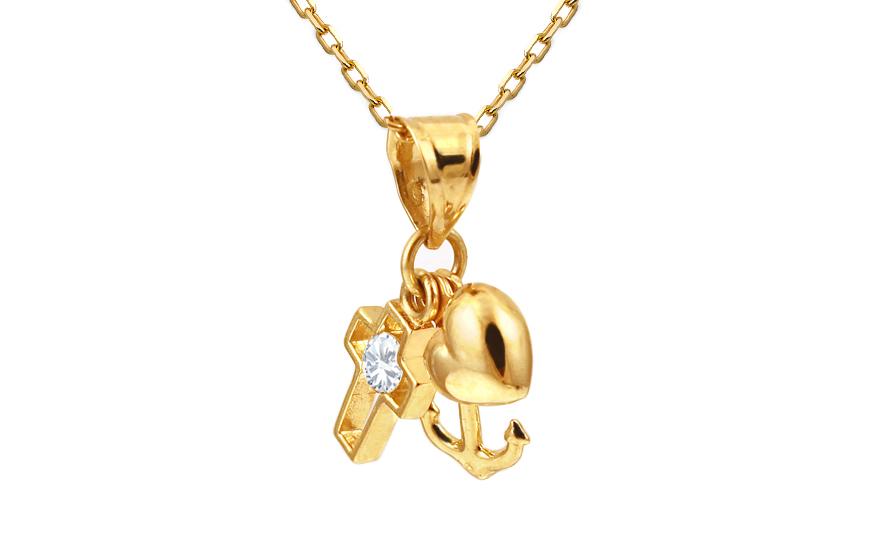 Zlatý přívěsek srdce, kotva, kříž se zirkonem IZ10611