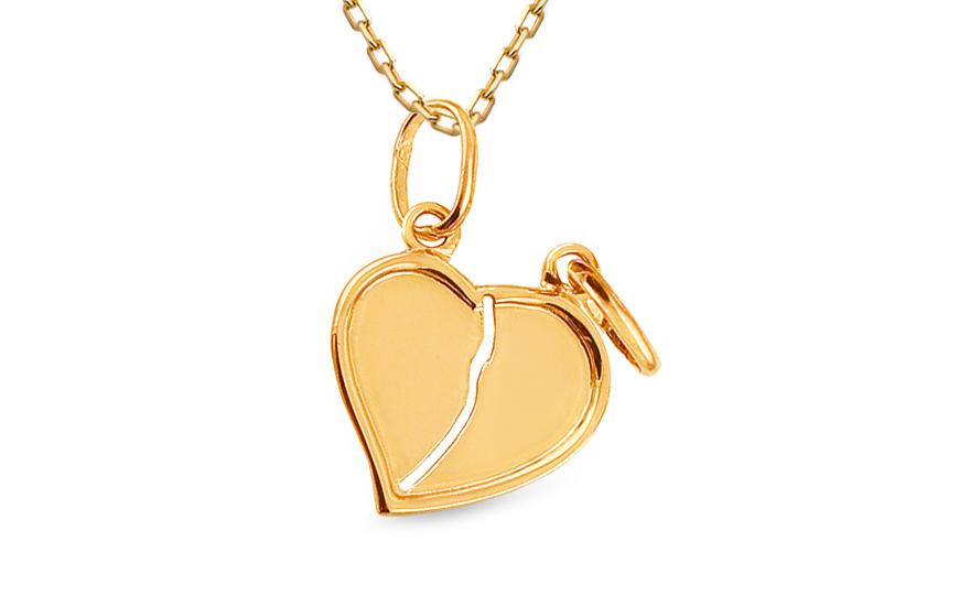 Zlatý přívěsek srdce pro dva IZ4629Y