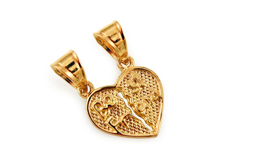 Zlatý přívěsek srdce pro dva Best Friend IZ10604