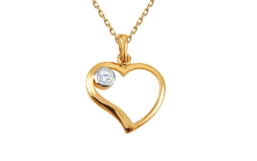 Zlatý přívěsek srdce se zirkonem IZ10450