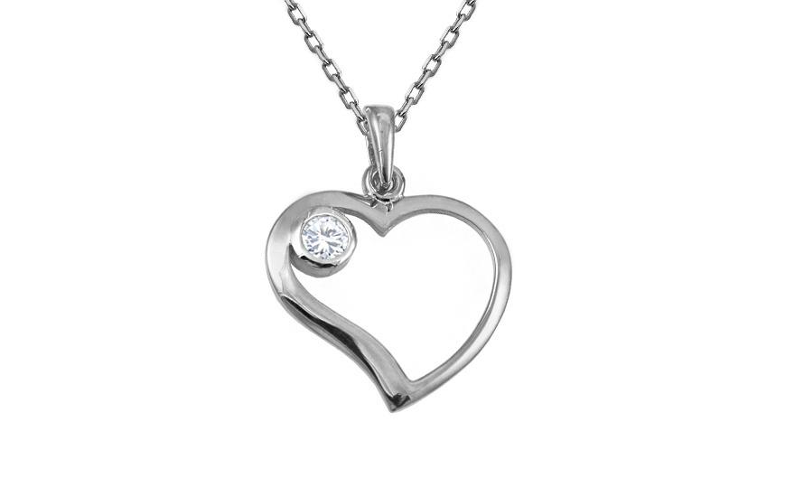 Zlatý přívěsek srdce se zirkonem IZ10450A