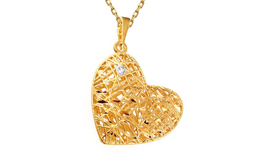 Zlatý přívěsek srdce se zirkonem IZ11991