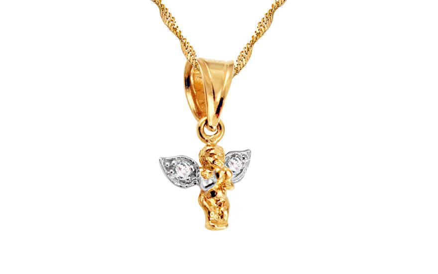 Zlatý přívěsek strážný anděl charms IZ3657