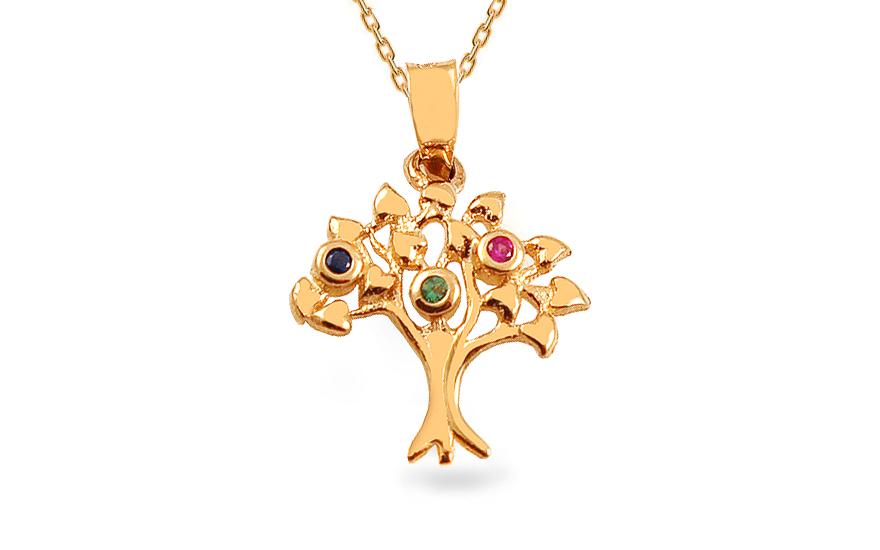 Zlatý přívěsek strom života s barevnými kamínky IZ13416