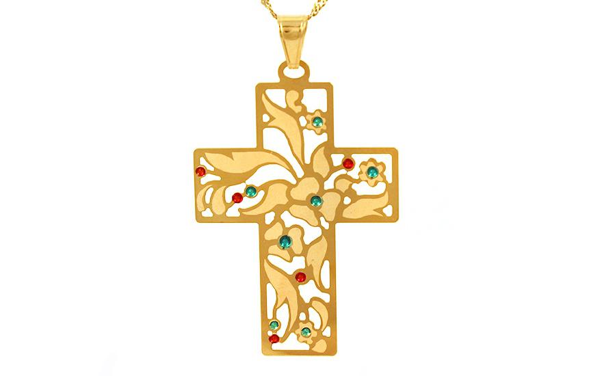 Zlatý přívěsek vyřezávaný kříž IZ9488