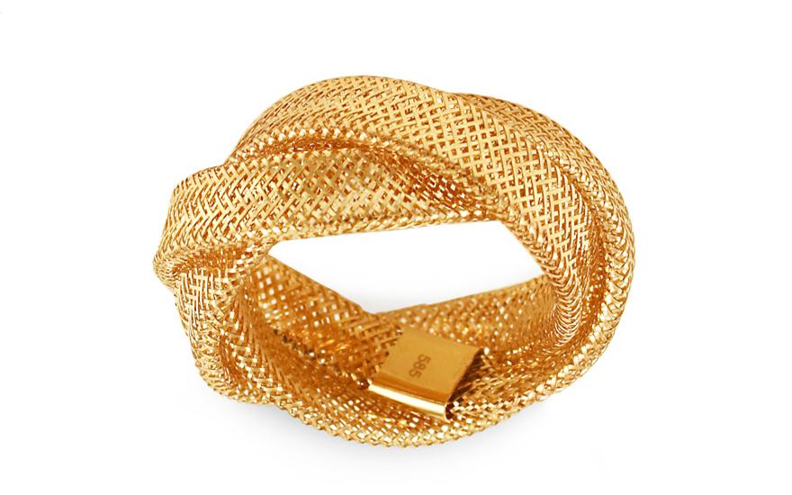 Zlatý proplétaný prsten Flexi IZ9984