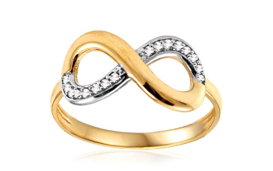 Zlatý prsten nekonečno se zirkony IZ10699