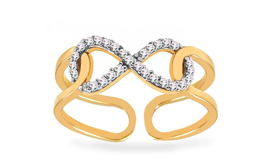 Zlatý prsten nekonečno se zirkony CSRI3788