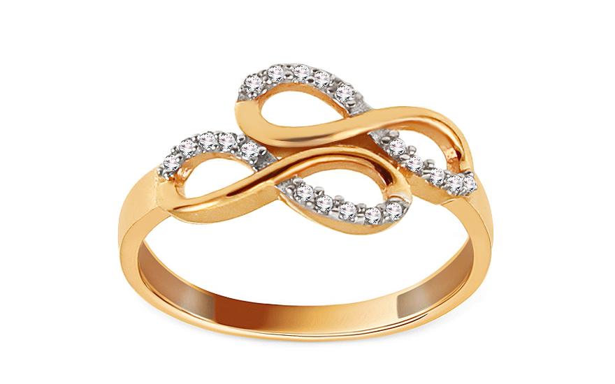 Zlatý prsten nekonečno se zirkony IZ12938
