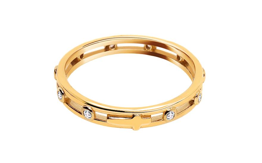 Zlatý prsten růženec se zirkony CSRI3227