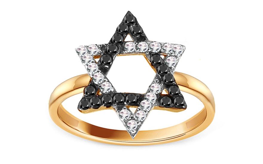 Zlatý prsten s černými zirkony Davidova hvězda IZ13791