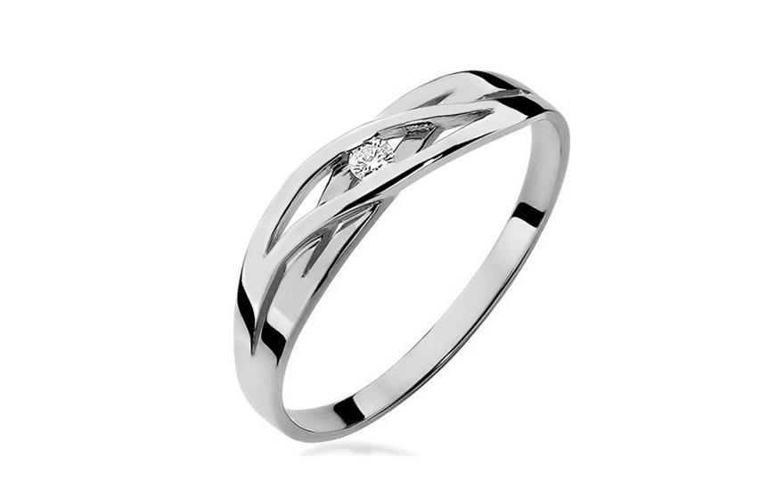 Zlatý prsten s diamantem Marietta white BSBR027A