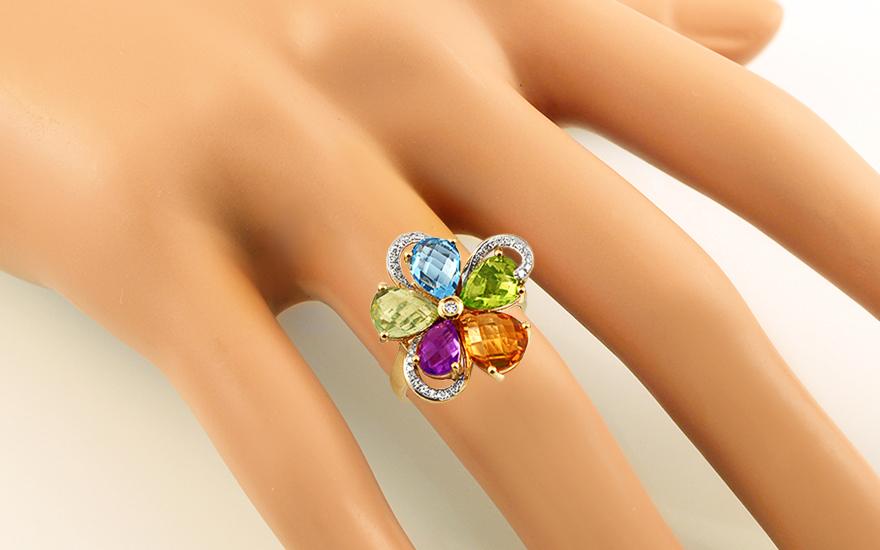 Zlatý prsten s diamanty a drahými kameny IZBR213