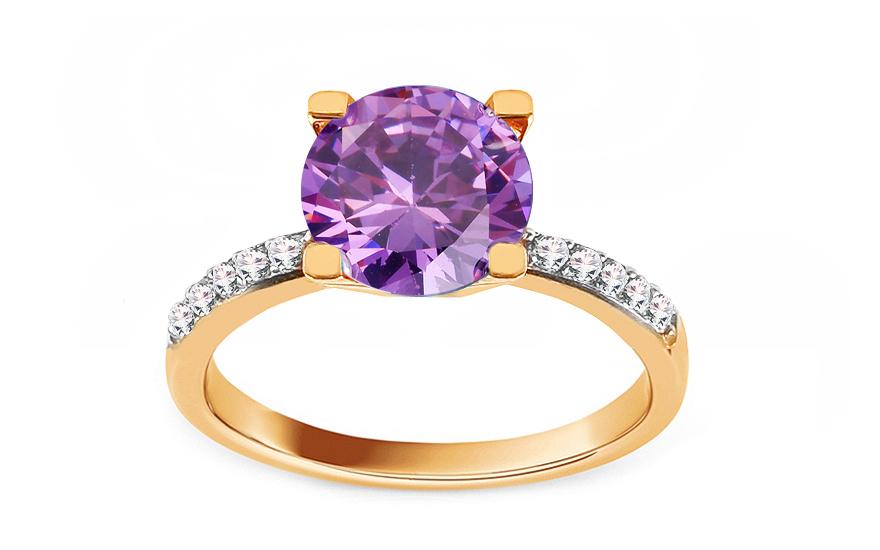 Zlatý prsten s fialovým zirkonem Malissa IZ13016