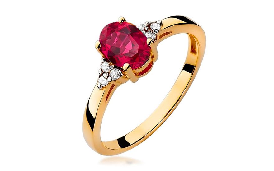 Zlatý prsten s rubínem a diamanty Morgana BSBR037R