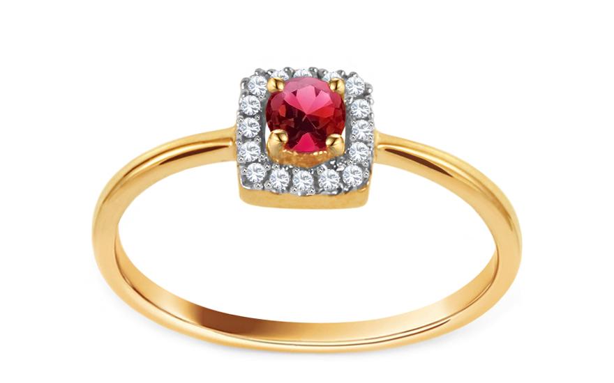 Zlatý prsten s rubínem a diamanty Rubis CSBRI010