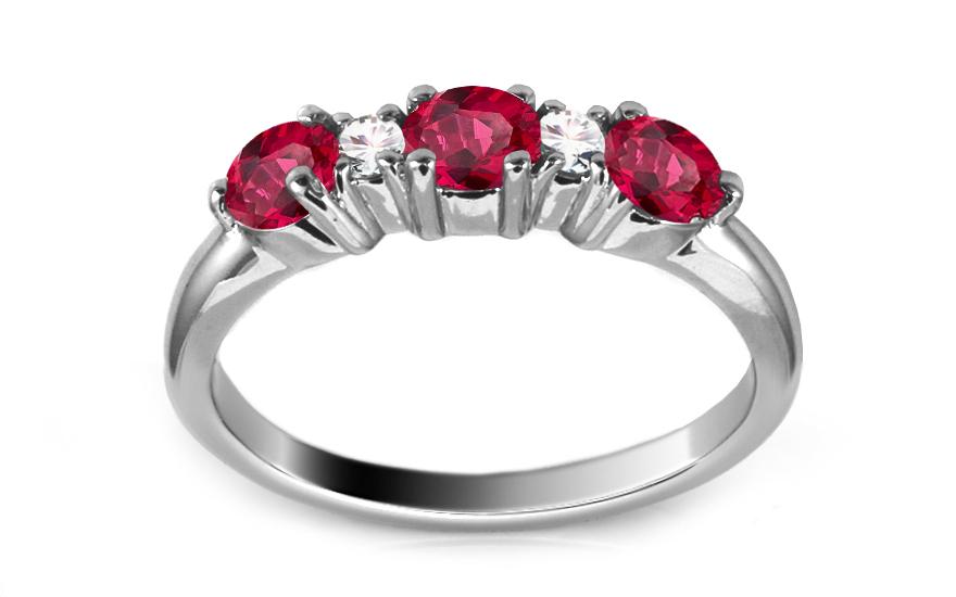 Zlatý prsten s rubíny a diamanty Davina ARBR40AR