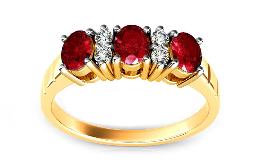 Zlatý prsten s rubíny a diamanty Meddy ARBR16R