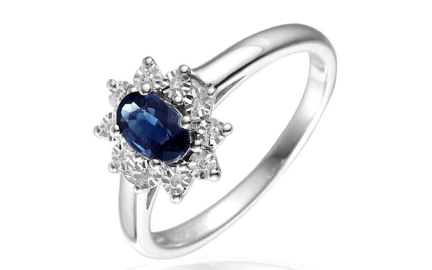 ee6857a38 Zlatý prsten se safírem a diamanty Palesa, pro ženy (IZBR181A ...