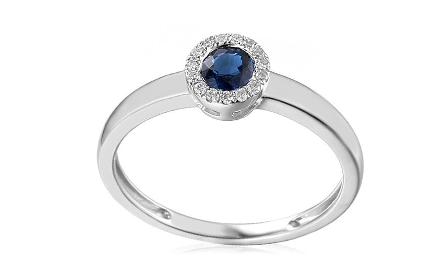 c2fc306e597 Zlatý prsten se safírem a diamanty Saphira, pro ženy (IZBR092SP ...