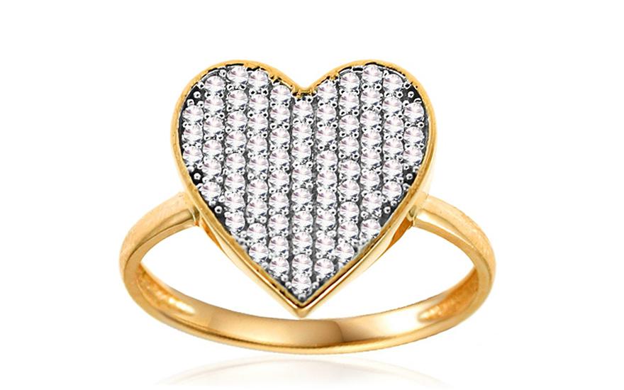Zlatý prsten se srdcem Vibrant Heart IZ10695