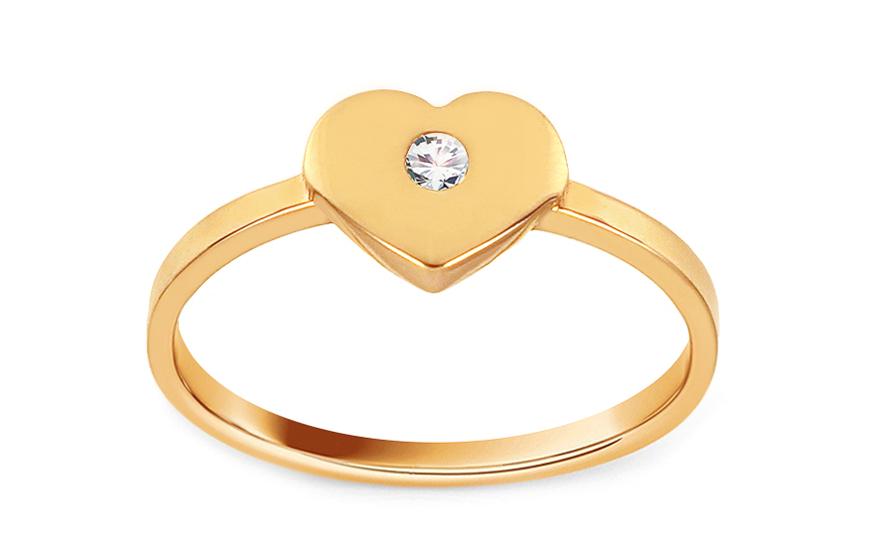 Zlatý prsten se srdíčkem ozdobeným zirkonem IZ12071