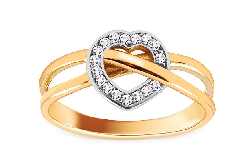 Zlatý prsten se srdíčkem vykládaným zirkony CSRI1458